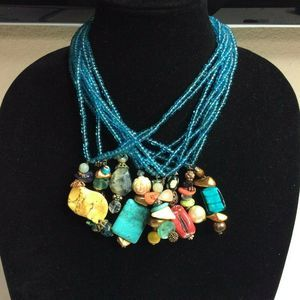 Multi Strand Blue Glass Beads Necklace Mixed Beads